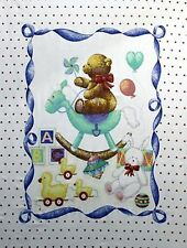 Teddy Bear Rocking Horse Baby Quilt top Panel Fabric Cotton Hearts balloons