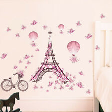 Pink Flowers Eiffel Tower Removable Wall Sticker Decal PVC Mural Home Decor DIY