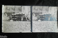 STA480 Saint Nazaire Plage tente groupe Rochers STEREO stereoview Photo 1913