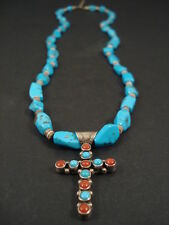 Vintage Navajo Turquoise Coral Silver Cross Necklace Jewelry Antique