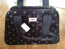 BNWT Cath Kidston Overnight Bag Oilcloth Charcoal & Green Button Spot - RRP £65