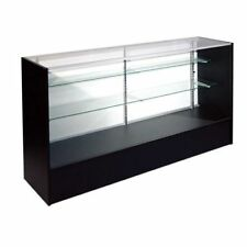 RETAIL GLASS DISPLAY CASE FULL VISION BLACK 6' SHOWCASE