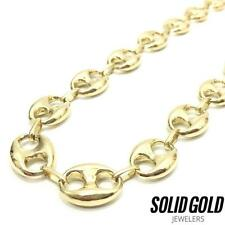 """NEW 10K YELLOW GOLD 30"""" 12 MM HIGH POLISHED MARINER ANCHOR PUFFED CHAIN NECKLACE"""