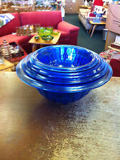 Hazel Atlas Cobalt Blue Rib Optic 4 Pieces Mixing Bowl Set