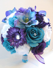 17 pc Wedding Bouquet Bridal Silk flowers PURPLE DAISY TURQUOISE BLUE ORCHID
