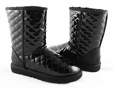 UGG Classic Short Quilted Black Patent Leather Boots Size 6 *NEW IN BOX*