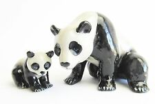 Miniature Porcelain Hand Painted Mother Panda & Baby Figurine (2 Pieces)