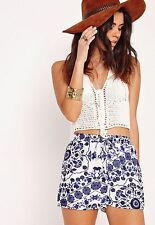 Missguided Womens Porcelain Print Shorts Size 6 BNWT White Blue Uk Freepost