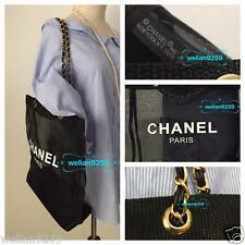 Auth Rare Chanel Beaute Faux Leather Chain Mesh Makeup Tote Bag VIP Gift
