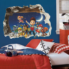 Paw Patrol Dog 3D Wall Sticker Kids Room Cartoon Mural Decals Familly Home Decor