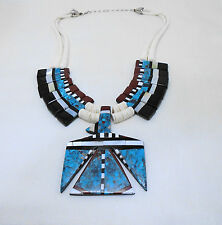 SANTO DOMINGO Crespin THUNDERBIRD Necklace turquoise jet MOP shell sterling BIG
