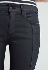 "$268 True Religion Womens 31"" 12 Halle Navy Blue Coated Night Super Skinny Jeans"