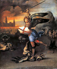 Saint St Michael and the Dragon by Raphael 100% Cotton Canvas Poster Print NEW