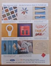 1962 magazine ad for Ford - Many fabrics tested, only best chosen for Ford cars