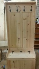 Church Pew Monks Bench with built in coat rack with shelf