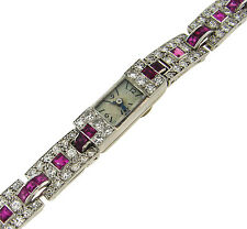Art Deco c.1930s Rare CARTIER RUBY DIAMOND PLATINUM LADIES WATCH BRACELET