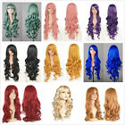 """Fashion Style 80CM 32"""" Lady Long Curly Lady Girl Anime Cosplay Hair Wig + Caps"""