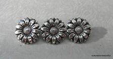 3 Antique Silver Sunflower Buttons - 18mm