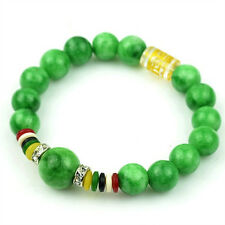 Stretchy Tibetan OM Mani Padme Hum 10mm Green Jade Prayer Beads Mala Bracelet