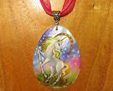 Russian hand painted White Horse UNICORN & MOON Purple Pink SHELL pendant signed