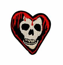 Bleeding Heart Skull Biker Embroidered Iron On Badge Applique Patch FD
