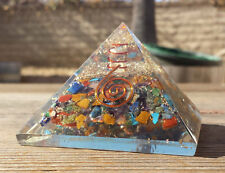 LARGE (50-55mm) 7 CHAKRA MIXED ORGONE GEMSTONE LARGE PYRAMID ORGONITE