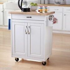 White Kitchen Island Cart Mobile Portable Rolling Utility Storage Cabinet Wood