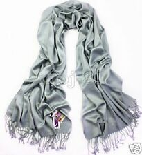 New Fashion Men's Winter Warm 100% Cashmere Solid Gray Tassel Pashmina Scarf