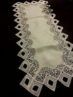 "Lace Table Runner Beige Tablecloth 15x70"" Table topper Home Party Wedding Decor"
