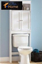 Over The Toilet Cabinet Bathroom Storage Wood Space Saver Shelf Organizer White