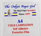 A4 Cold Lamination Glossy Self Adhesive Film 6 sheets SECONDS Clearance Ref 92