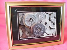 """Signed Framed Print """"Coin"""" Still Life of Ancient Chinese Coins, Signed(GLD)"""