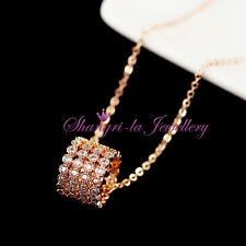 18K Rose GOLD GF Womens LUCKY RING Full Crystal NECKLACE Swarovski DIAMIND K509
