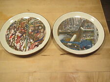 "Two Franklin McMahon ltd edition 8""D collector plates Rush Hour & Parades-USA"