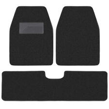 Set of 3 Car Floor Mats - 2 Front 1 Rear Liner Black Carpet for Truck SUV Van