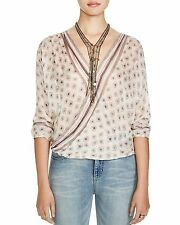 137396 New $88 Free People FP One Before Dawn Printed Wrap Sheer Blouse Top S