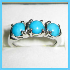 Sleeping Beauty Turquoise 3-stone 1.5 ct Ring Platinum /Sterling Silver 925 sz 7