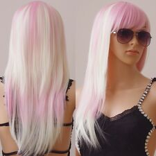 """23-40"""" Anime Cosplay Wigs Long Curly Straight Full Head Wig With Bangs 20COLORS"""