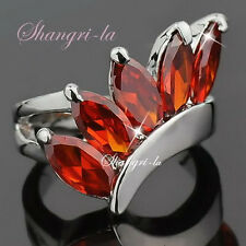3464 18k 18CT WHITE GOLD PLATED GARNET RING WITH RED SWAROVSKI CRYSTAL Sz8
