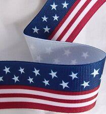 """Lot 3 YDS~1.5"""" FLAG Grosgrain Ribbon Patriotic Red,White,Blue.Stars &Stripes"""