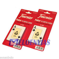 2 X BARAJA DE CARTAS FOURNIER Nº 611 ORIGINAL 55 NAIPES POKER, CALIDAD