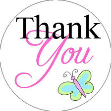 """THANK YOU STICKER - with Butterfly -1"""" Round Stickers"""