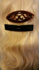 Karina French Couture 2 Hair Barrettes one Black Faux Leather one Brown Tortoise