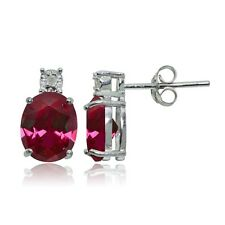 Sterling Silver Created Ruby and Diamond Accent Oval Drop Stud Earrings