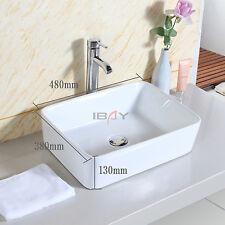 Basin Sink Countertop Square Bathroom Ceramic Wash Bowl Modern Washing Sink UK