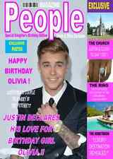 JUSTIN BIEBER  MAGAZINE STYLE A5 Personalised Birthday Card!! GREAT !!!!!