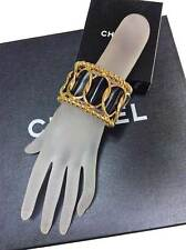 Authentic Chanel iconic gold tone metal leather bulky wide bracelet bangle cuff