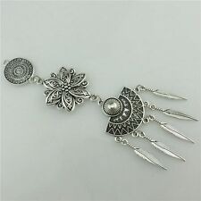 20254 Vintage Silver Alloy Hollow Lady Filigree Plant Flower Dangle Leaf Pendant