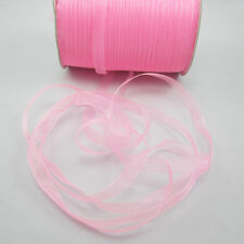 "50 Yards 3/8"" Sizes Satin Edge Sheer Organza Ribbon Bow Craft Pink Colors  ZW1"