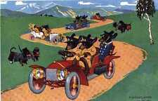 Dachshund Driving L - MATTED Dog Art Print - German / NEW